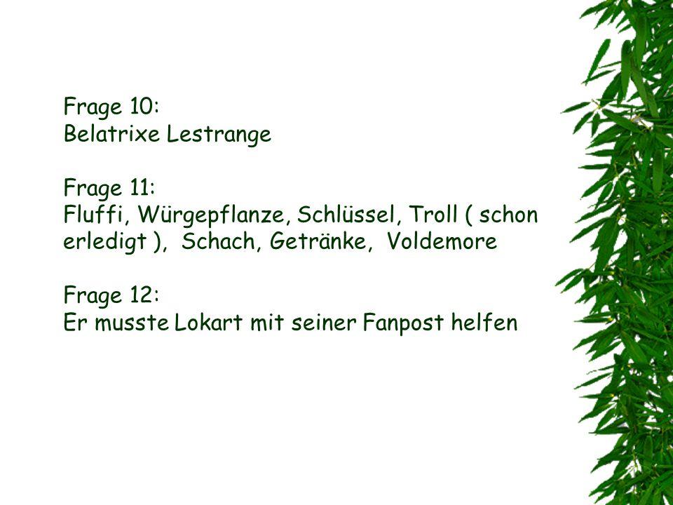 Frage 10: Belatrixe Lestrange Frage 11: Fluffi, Würgepflanze, Schlüssel, Troll ( schon erledigt ), Schach, Getränke, Voldemore Frage 12: Er musste Lokart mit seiner Fanpost helfen