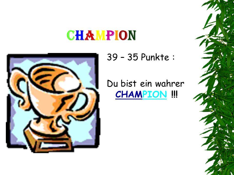Champion 39 – 35 Punkte : Du bist ein wahrer CHAMPION !!!