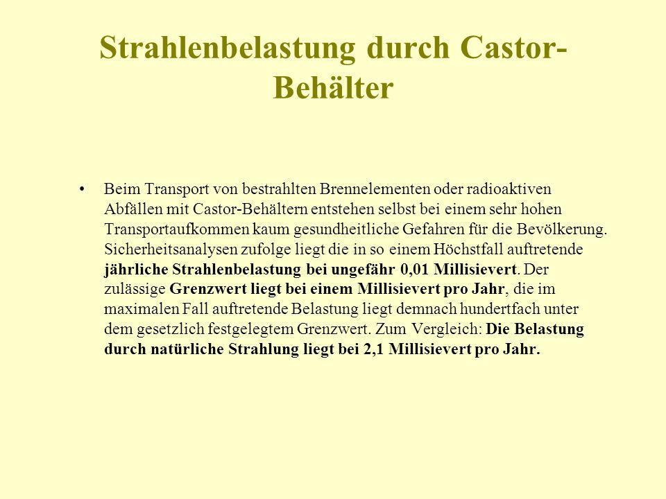 Strahlenbelastung durch Castor-Behälter