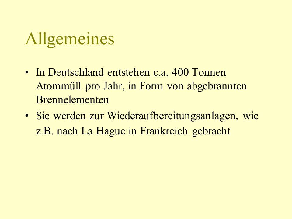 AllgemeinesIn Deutschland entstehen c.a. 400 Tonnen Atommüll pro Jahr, in Form von abgebrannten Brennelementen.