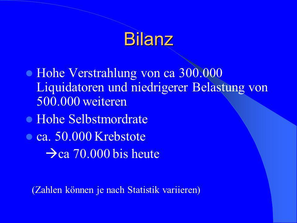 Bilanz Hohe Verstrahlung von ca 300.000 Liquidatoren und niedrigerer Belastung von 500.000 weiteren.