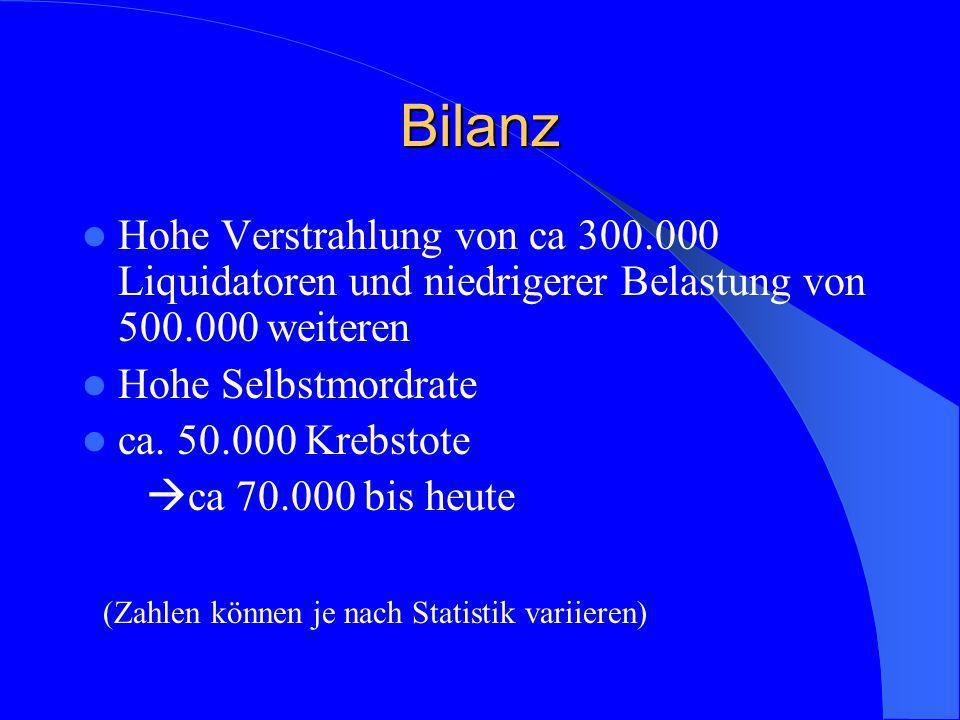 BilanzHohe Verstrahlung von ca 300.000 Liquidatoren und niedrigerer Belastung von 500.000 weiteren.