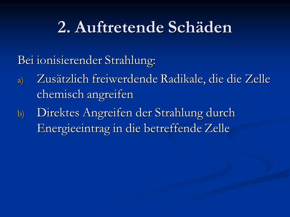2. Auftretende Schäden Bei ionisierender Strahlung: