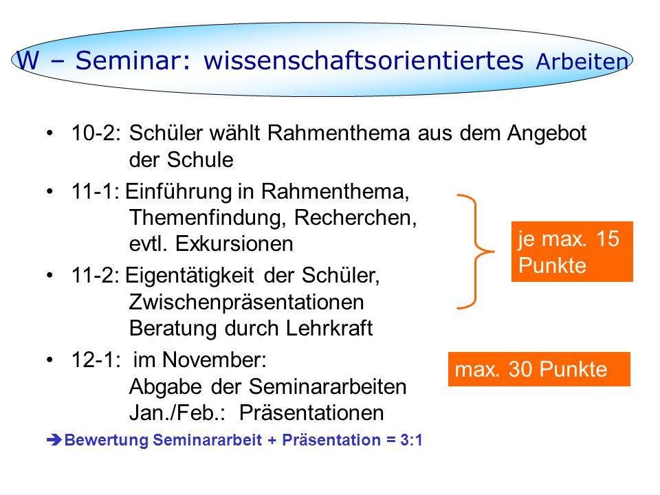 W – Seminar: wissenschaftsorientiertes Arbeiten