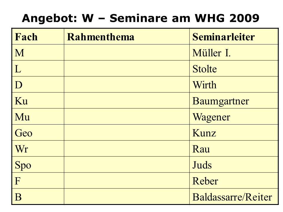 Angebot: W – Seminare am WHG 2009