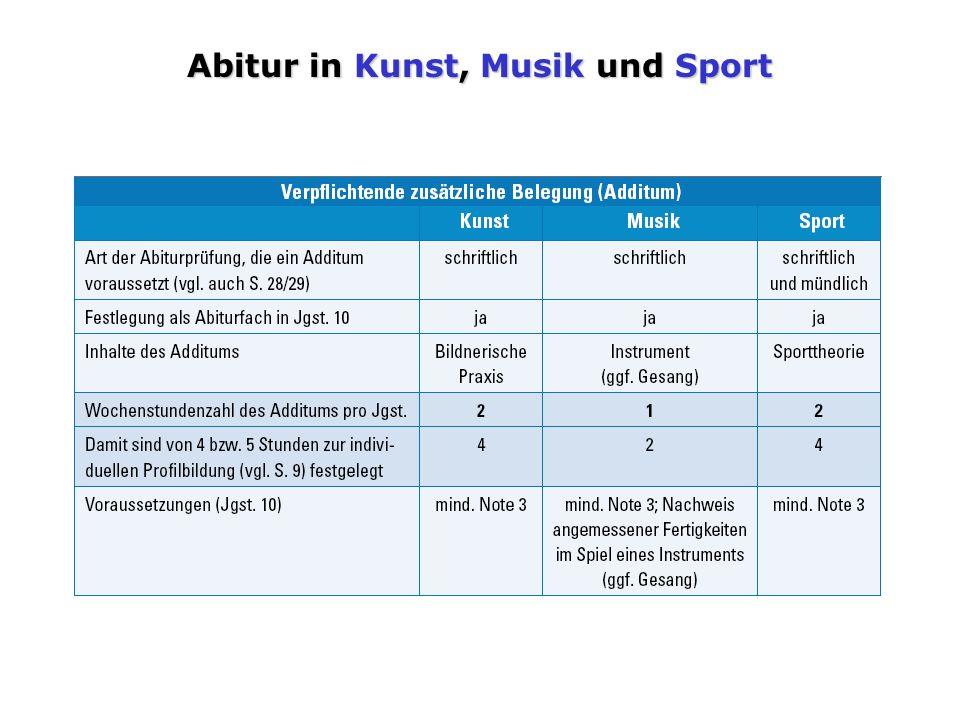 Abitur in Kunst, Musik und Sport