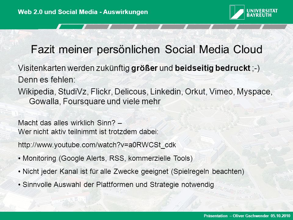 Fazit meiner persönlichen Social Media Cloud