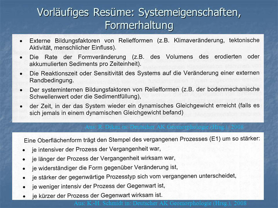 Vorläufiges Resüme: Systemeigenschaften, Formerhaltung