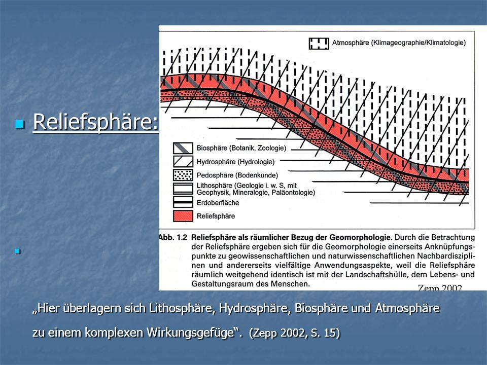 """Reliefsphäre:""""Hier überlagern sich Lithosphäre, Hydrosphäre, Biosphäre und Atmosphäre zu einem komplexen Wirkungsgefüge ."""