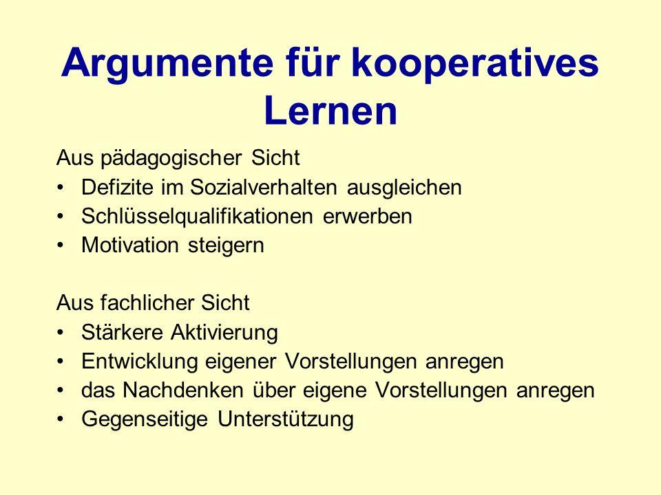 Argumente für kooperatives Lernen