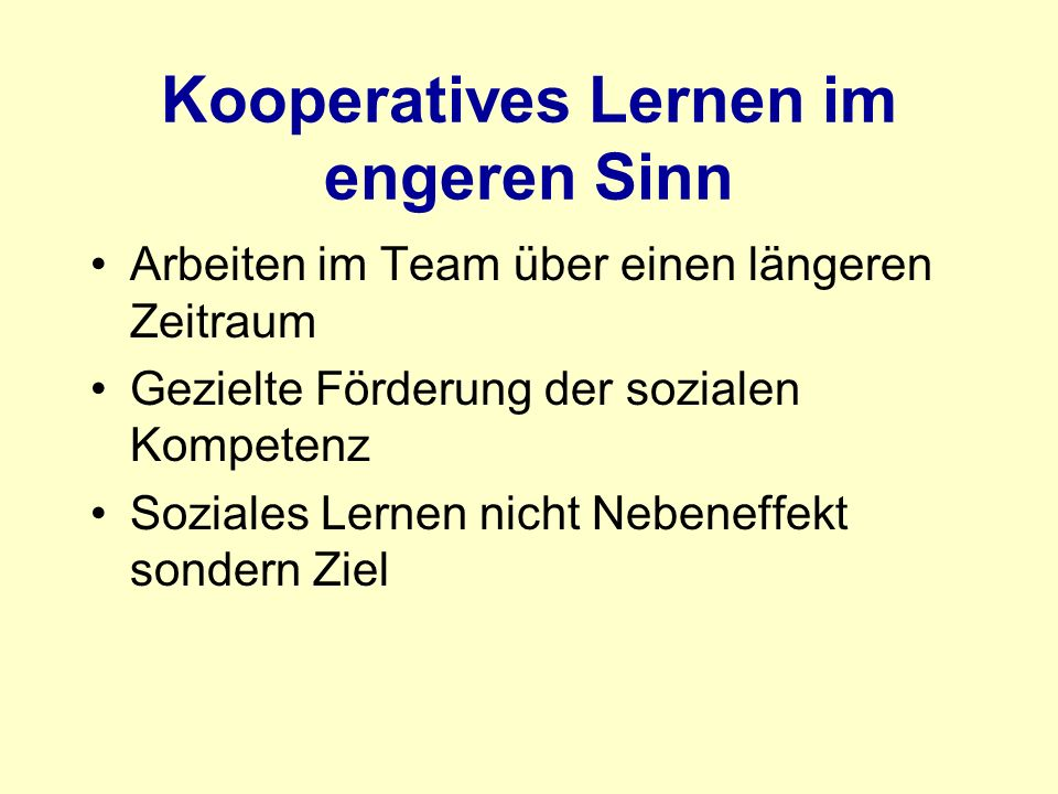 Kooperatives Lernen im engeren Sinn