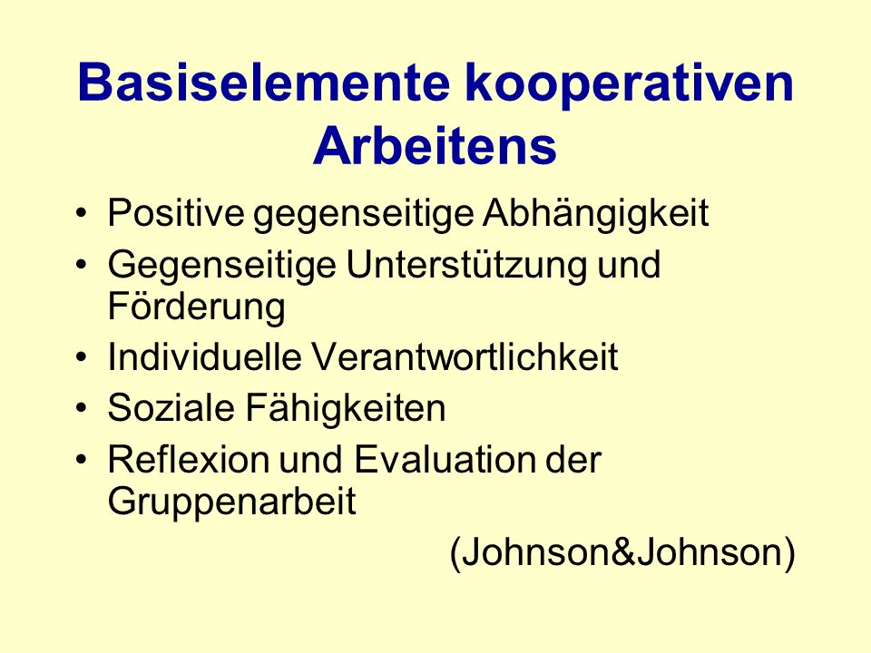 Basiselemente kooperativen Arbeitens