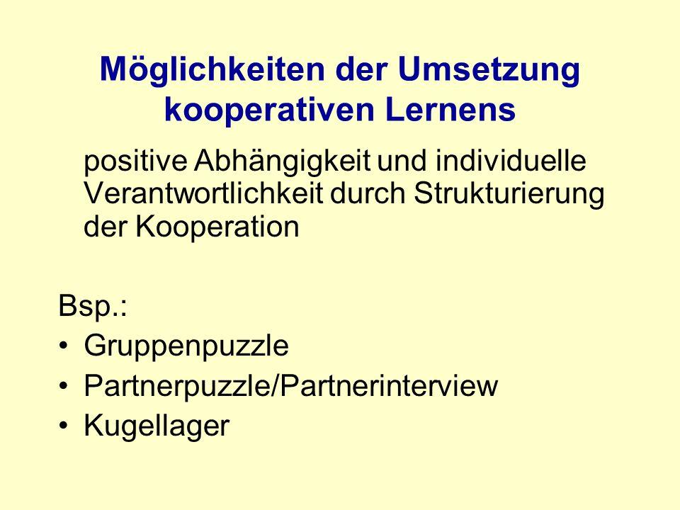 Möglichkeiten der Umsetzung kooperativen Lernens