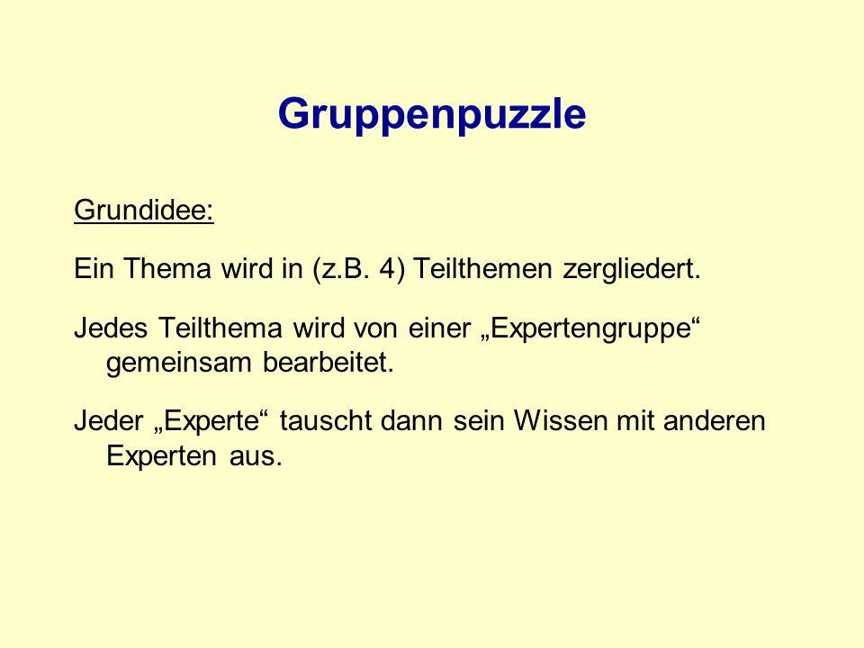 Gruppenpuzzle Grundidee: