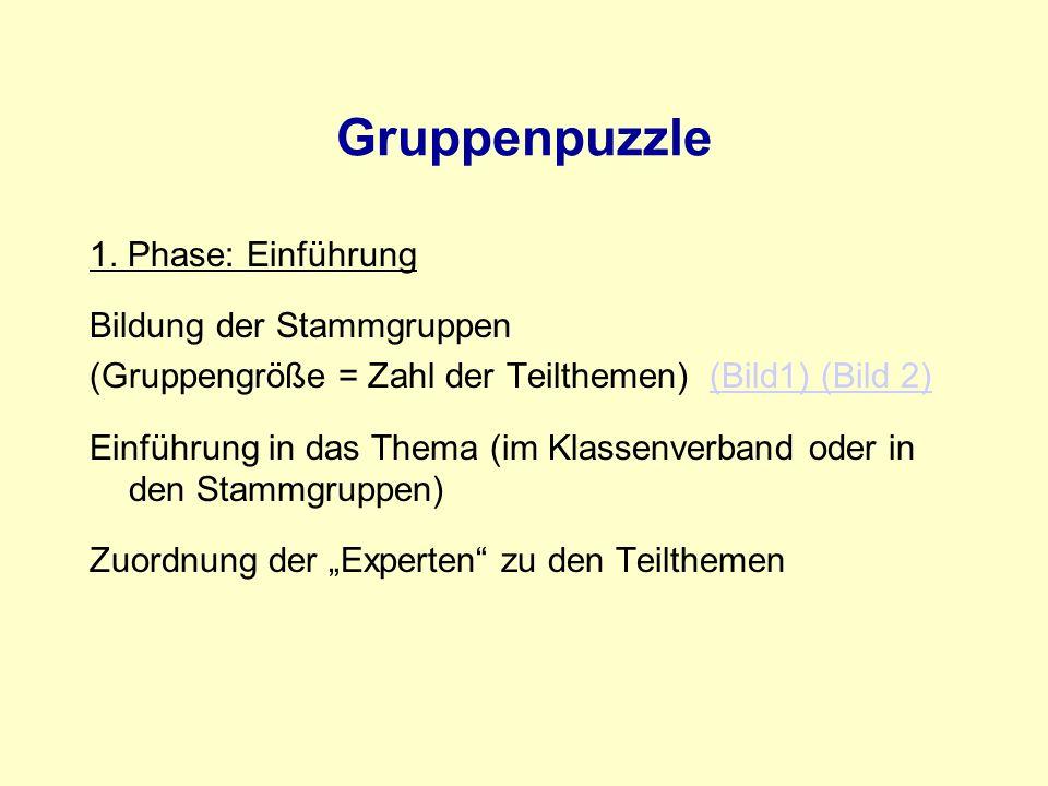 Gruppenpuzzle 1. Phase: Einführung Bildung der Stammgruppen
