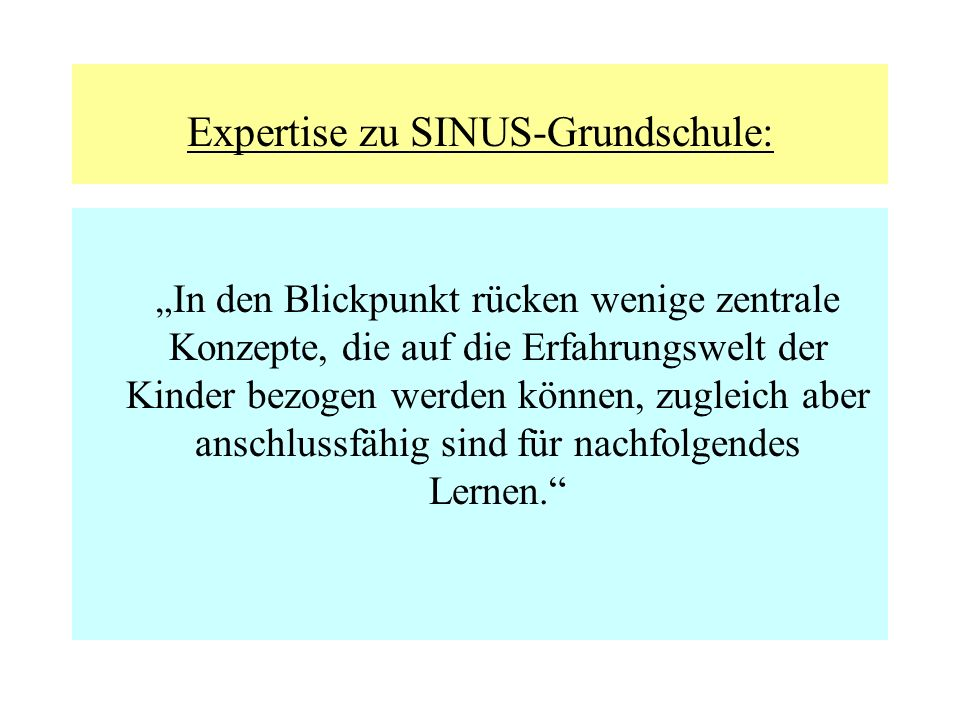 Expertise zu SINUS-Grundschule: