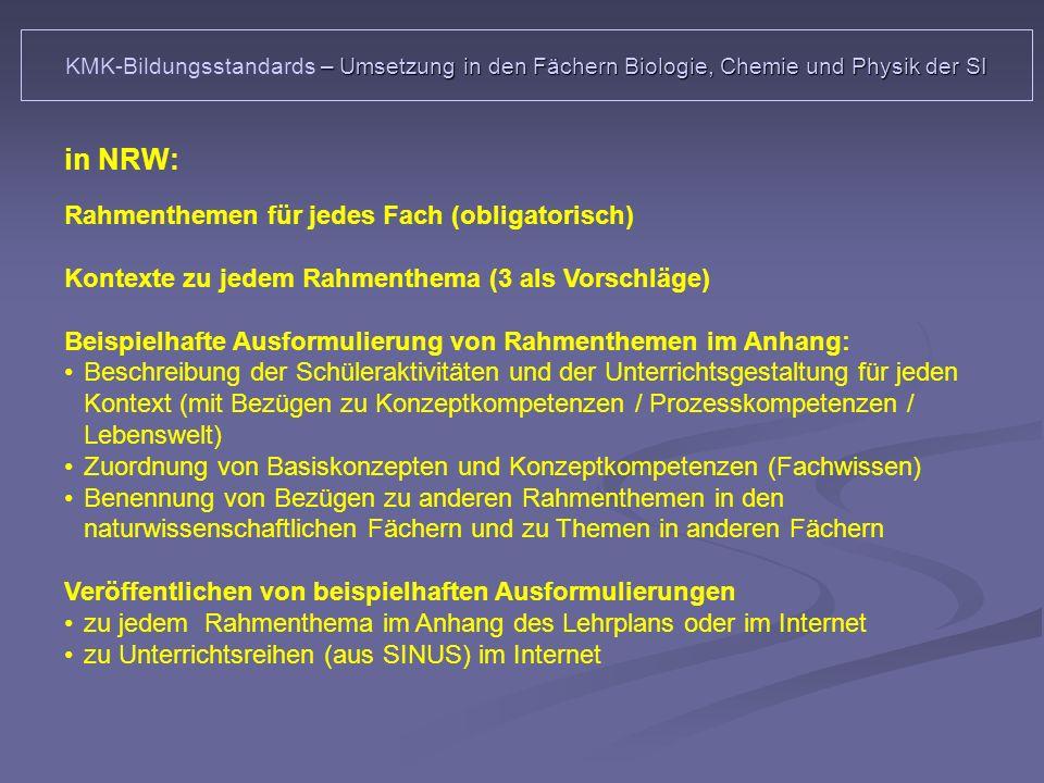 in NRW: Rahmenthemen für jedes Fach (obligatorisch)