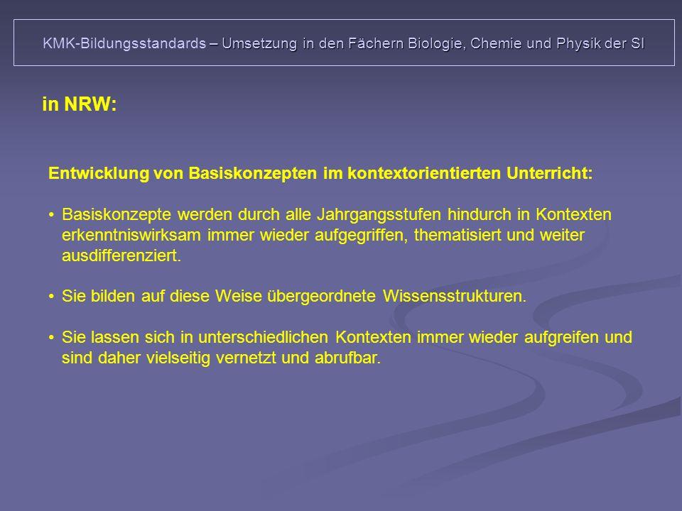 KMK-Bildungsstandards – Umsetzung in den Fächern Biologie, Chemie und Physik der SI