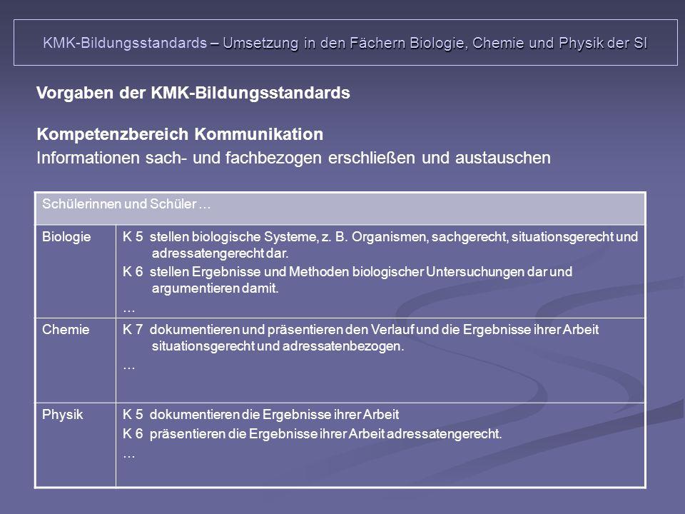 Vorgaben der KMK-Bildungsstandards Kompetenzbereich Kommunikation