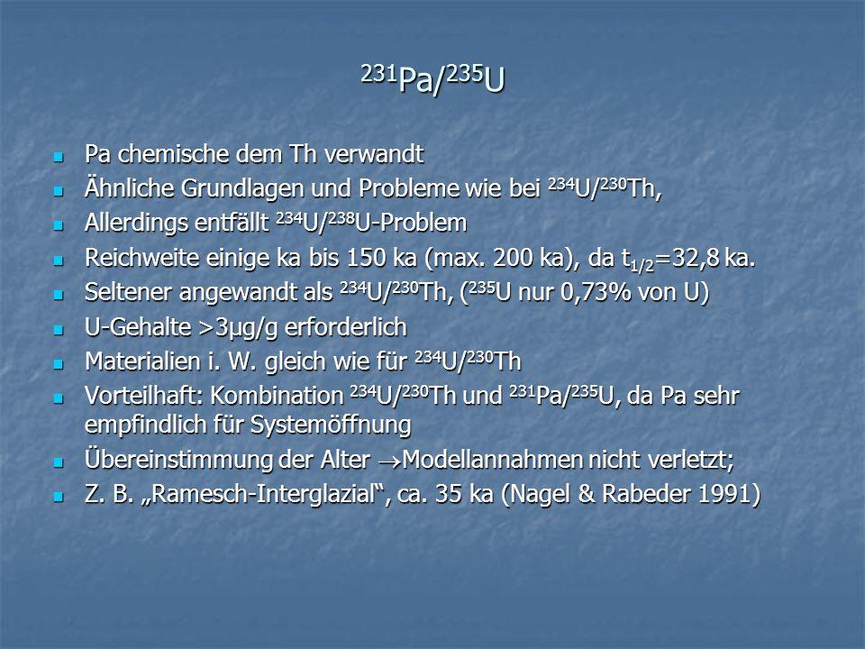 231Pa/235U Pa chemische dem Th verwandt
