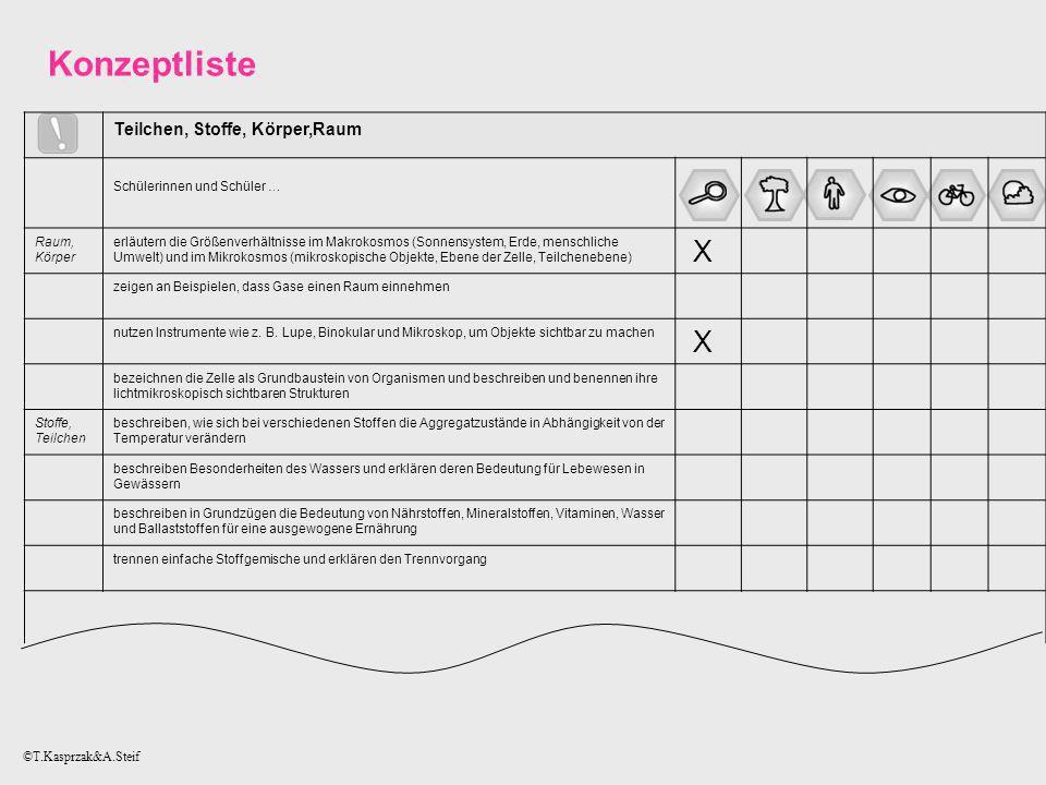 Konzeptliste X Teilchen, Stoffe, Körper,Raum