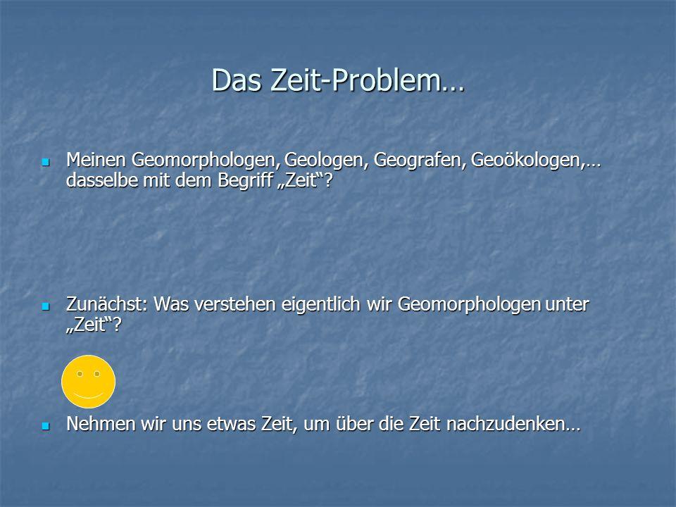 """Das Zeit-Problem… Meinen Geomorphologen, Geologen, Geografen, Geoökologen,… dasselbe mit dem Begriff """"Zeit"""