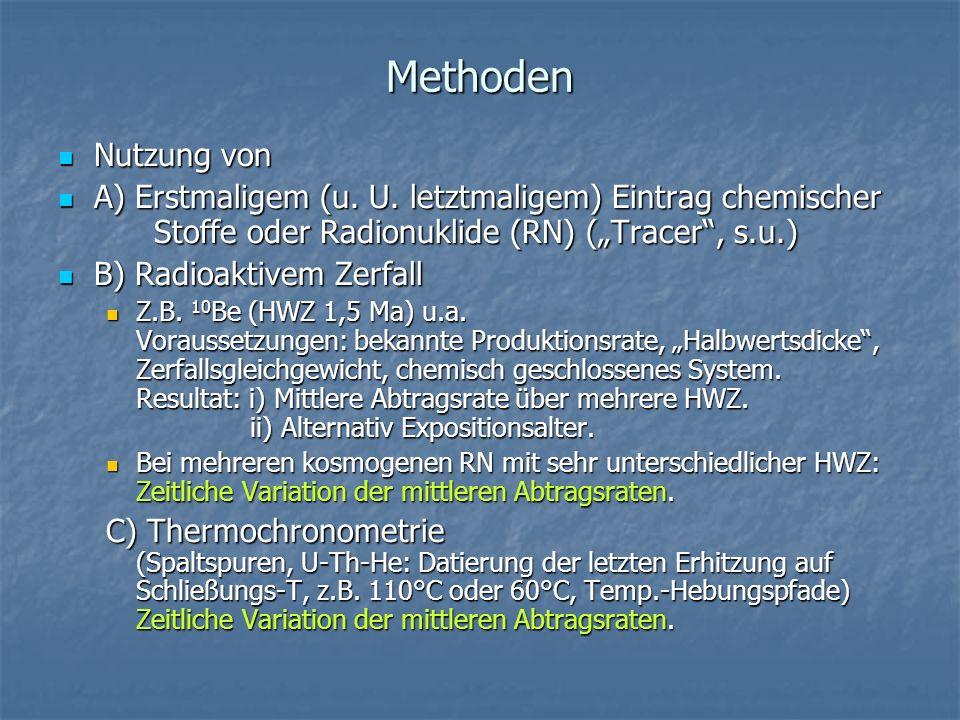 """Methoden Nutzung von. A) Erstmaligem (u. U. letztmaligem) Eintrag chemischer Stoffe oder Radionuklide (RN) (""""Tracer , s.u.)"""