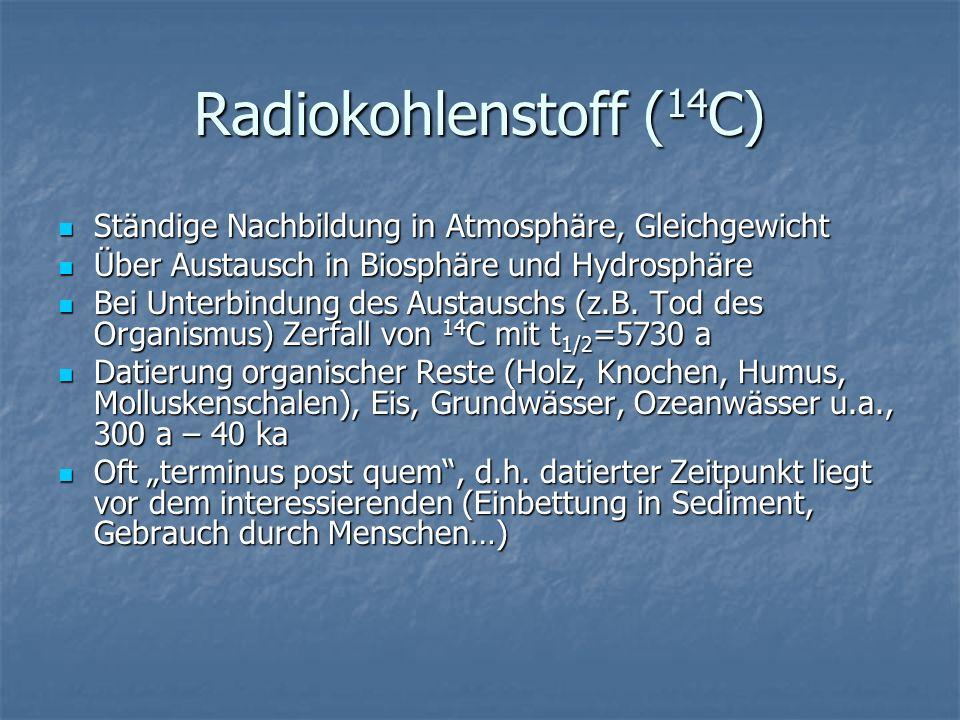 Radiokohlenstoff (14C) Ständige Nachbildung in Atmosphäre, Gleichgewicht. Über Austausch in Biosphäre und Hydrosphäre.