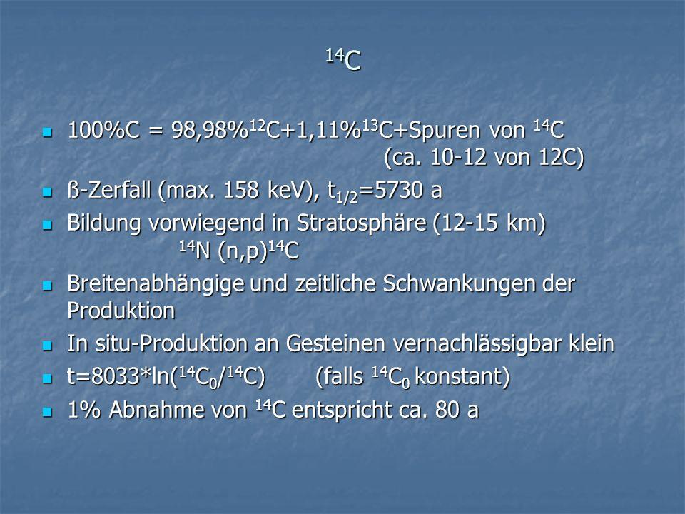14C 100%C = 98,98%12C+1,11%13C+Spuren von 14C (ca. 10-12 von 12C)