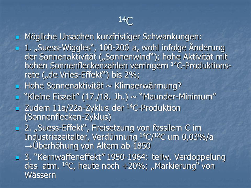 14C Mögliche Ursachen kurzfristiger Schwankungen: