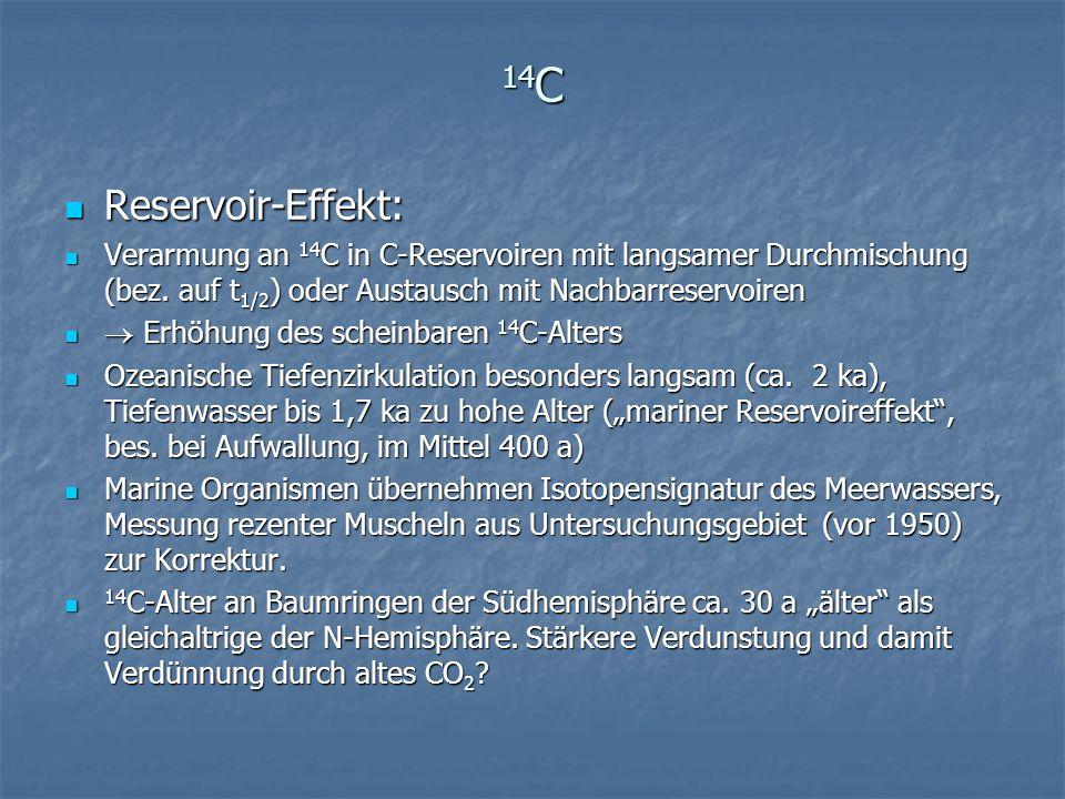 14C Reservoir-Effekt: Verarmung an 14C in C-Reservoiren mit langsamer Durchmischung (bez. auf t1/2) oder Austausch mit Nachbarreservoiren.