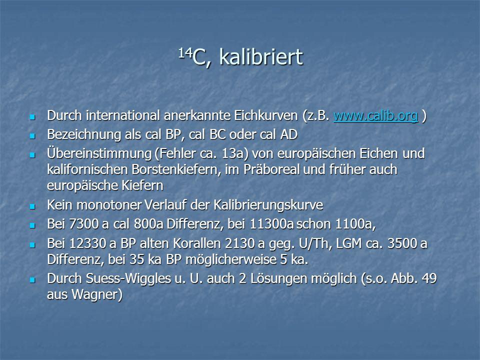 14C, kalibriert Durch international anerkannte Eichkurven (z.B. www.calib.org ) Bezeichnung als cal BP, cal BC oder cal AD.