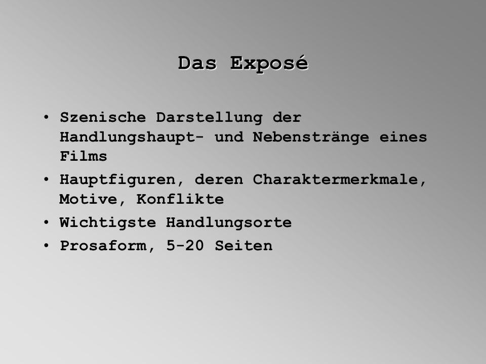 Das Exposé Szenische Darstellung der Handlungshaupt- und Nebenstränge eines Films. Hauptfiguren, deren Charaktermerkmale, Motive, Konflikte.