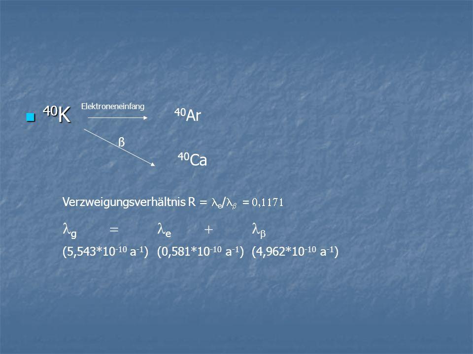 40K 40Ar 40Ca lg = le + lb ß Verzweigungsverhältnis R = le/lb = 0,1171