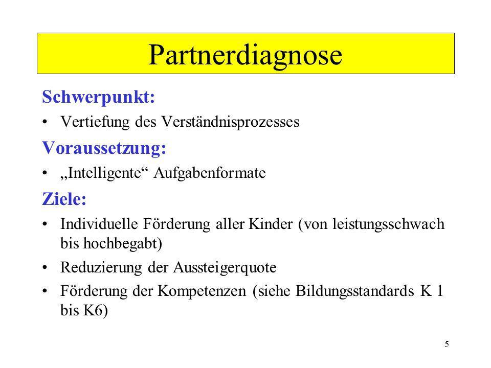 Partnerdiagnose Schwerpunkt: Voraussetzung: Ziele: