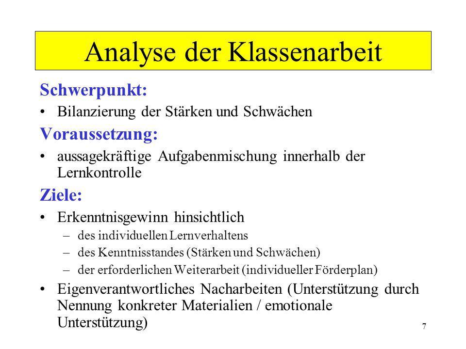 Analyse der Klassenarbeit