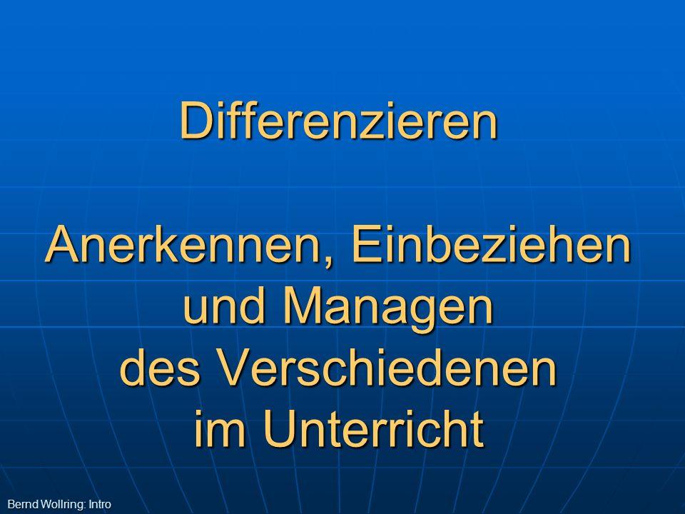 Differenzieren Anerkennen, Einbeziehen und Managen des Verschiedenen im Unterricht