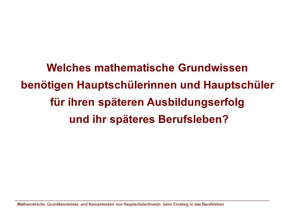 Welches mathematische Grundwissen