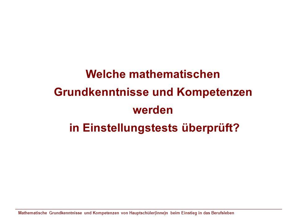 Welche mathematischen Grundkenntnisse und Kompetenzen werden