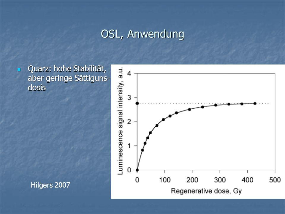 OSL, Anwendung Quarz: hohe Stabilität, aber geringe Sättiguns-dosis