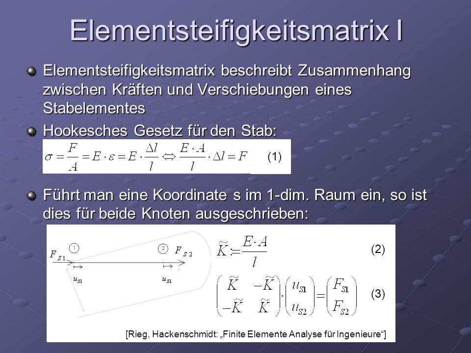 Elementsteifigkeitsmatrix I