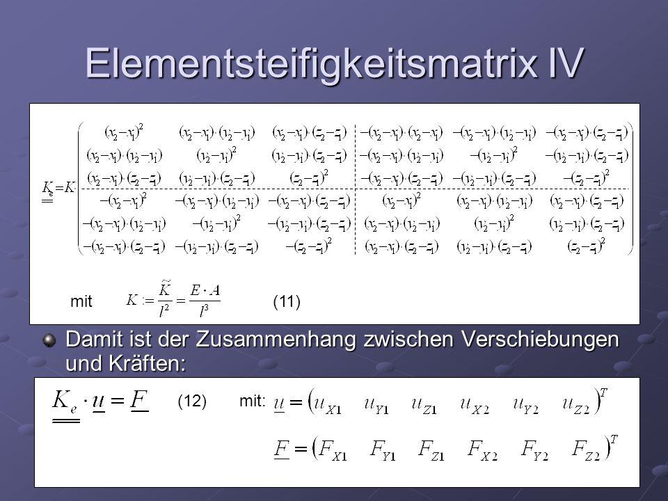 Elementsteifigkeitsmatrix IV