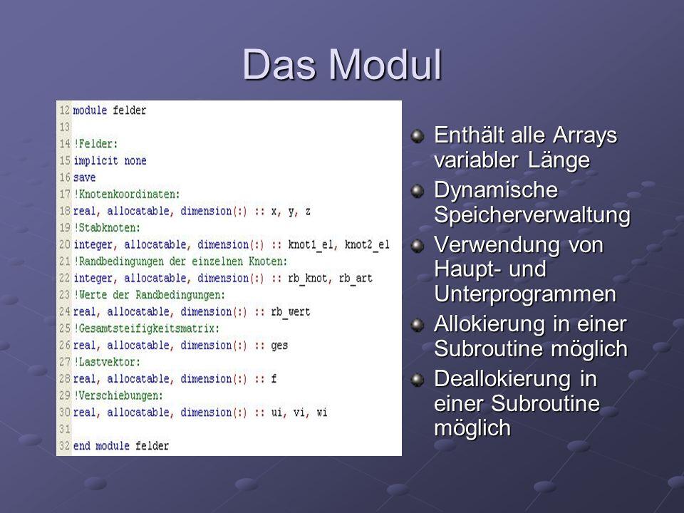 Das Modul Enthält alle Arrays variabler Länge