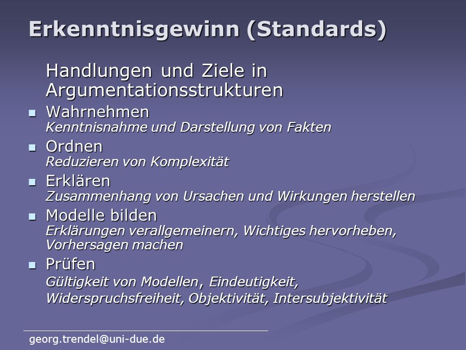 Erkenntnisgewinn (Standards)