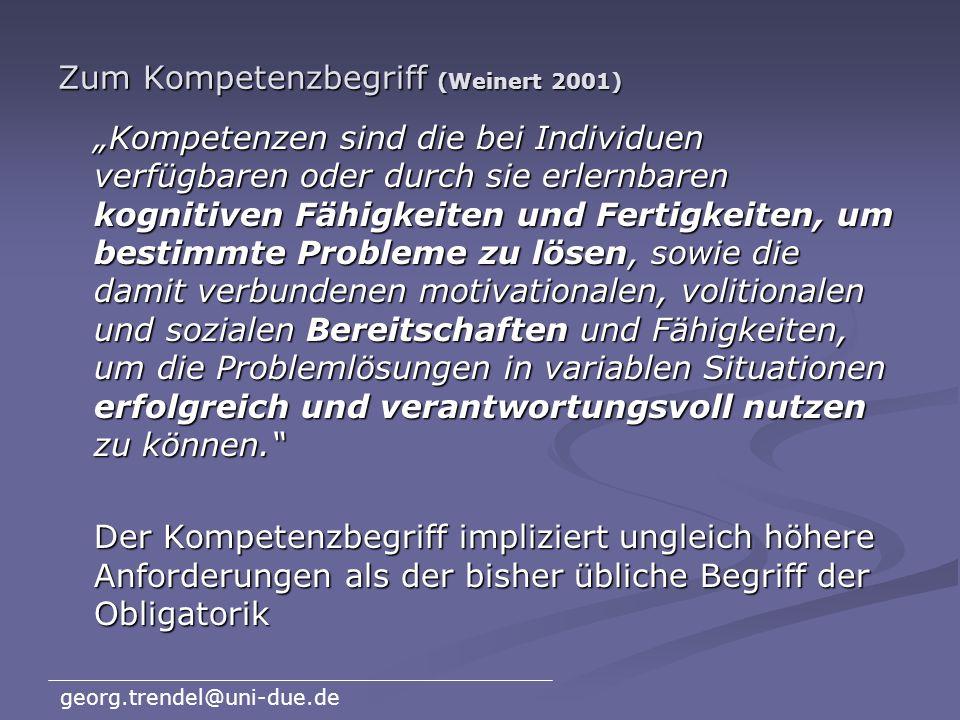 Zum Kompetenzbegriff (Weinert 2001)