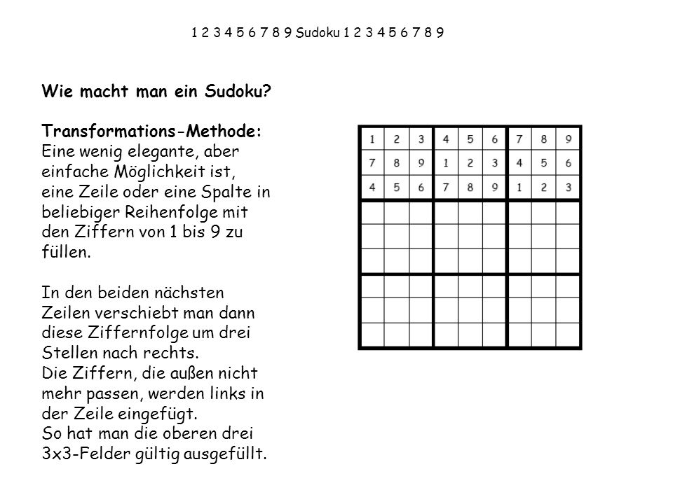 Wie macht man ein Sudoku Transformations-Methode: