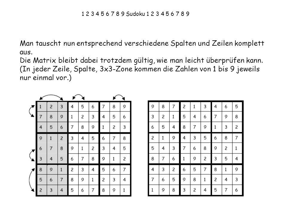 1 2 3 4 5 6 7 8 9 Sudoku 1 2 3 4 5 6 7 8 9 Man tauscht nun entsprechend verschiedene Spalten und Zeilen komplett aus.