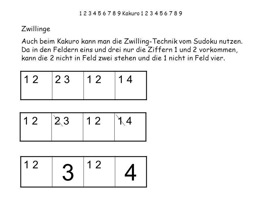 1 2 3 4 5 6 7 8 9 Kakuro 1 2 3 4 5 6 7 8 9 Zwillinge.