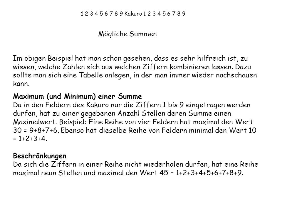 Maximum (und Minimum) einer Summe
