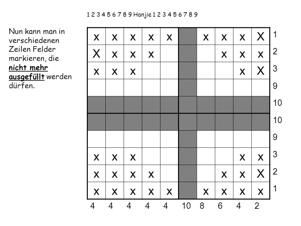 1 2 3 4 5 6 7 8 9 Hanjie 1 2 3 4 5 6 7 8 9 Nun kann man in verschiedenen Zeilen Felder markieren, die nicht mehr ausgefüllt werden dürfen.